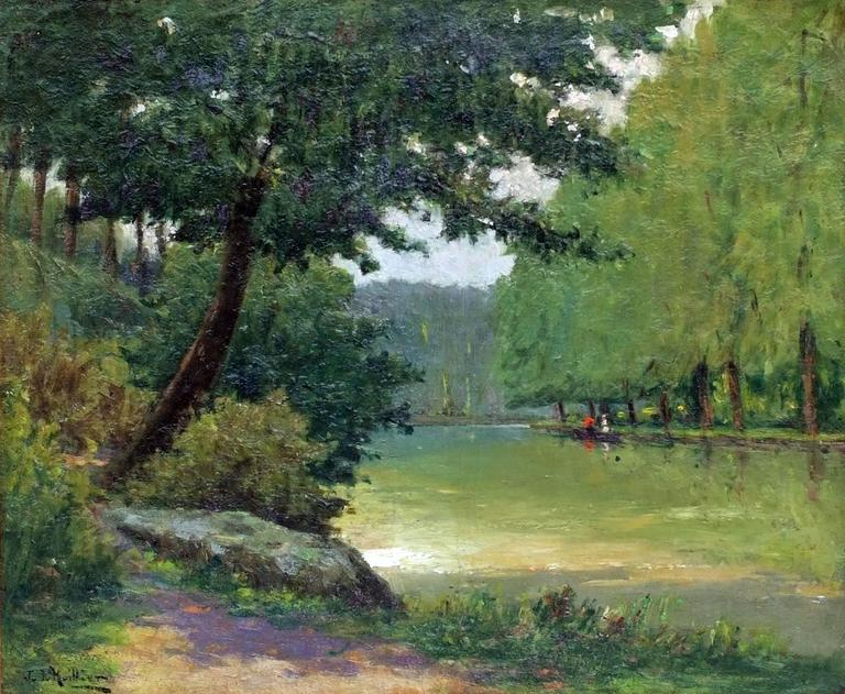 Painting 19th Century Landscape French Countryside Postimpressionist For Sale 3