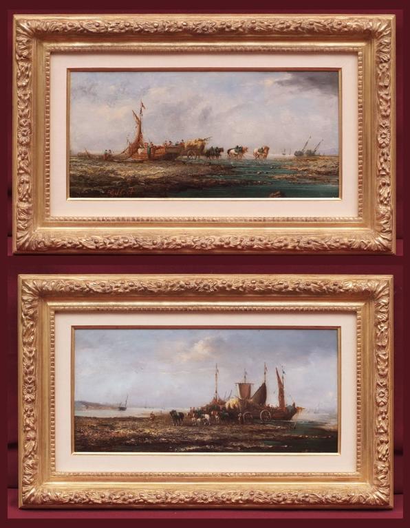 Paintings Seascape Marines  Fisching Scene on the Coastline Shore