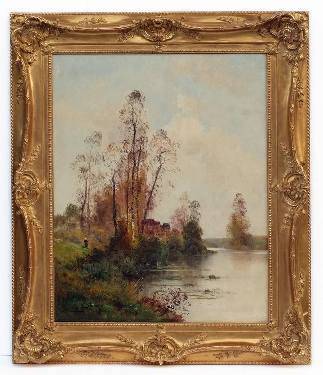 Painting 19th Century Landscape French Countryside Barbizon School - Brown Landscape Painting by Charles Clair