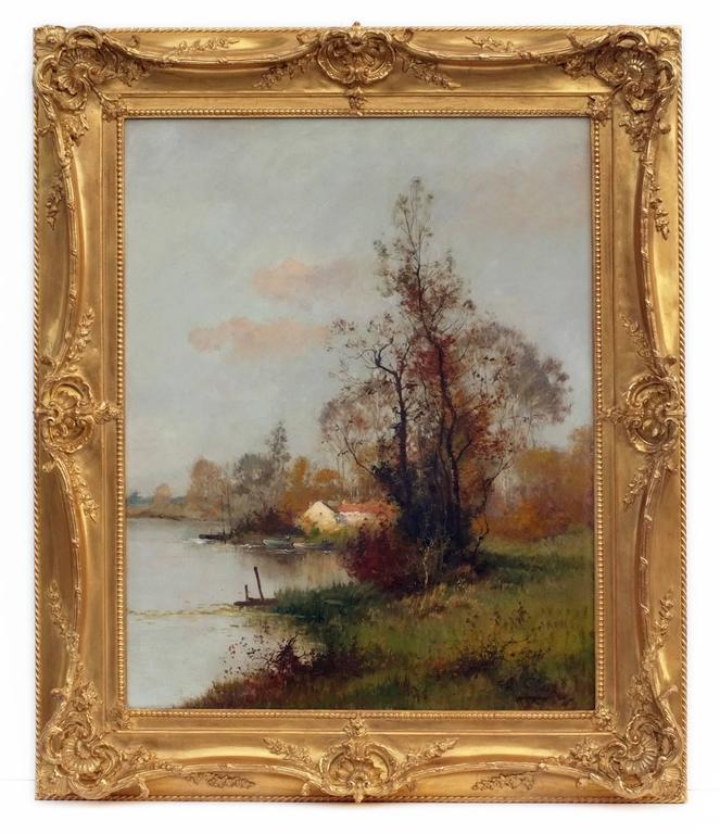 CLAIR Charles (1860-1930) Two Landscapes by the river  OilS on canvas signed low right and left Frames gilded with gold leaves Dim canvas (each) : 92 X 73 cm	 Dim frame : 120 X 100 cm Certificate of authenticity  CLAIR Charles (1860-1930) French