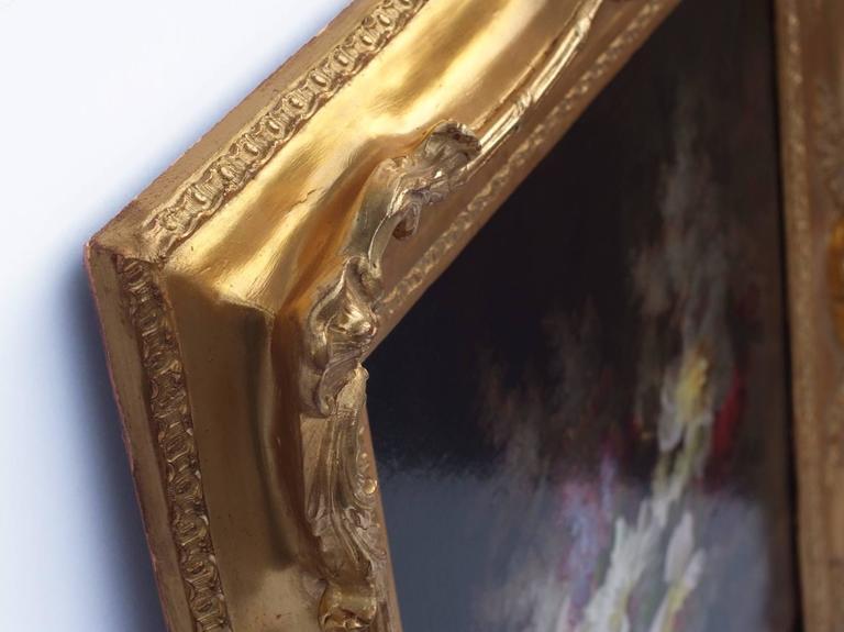 Painting 19th Century Flowers - Brown Still-Life Painting by Raoul Maucherat de Longpré