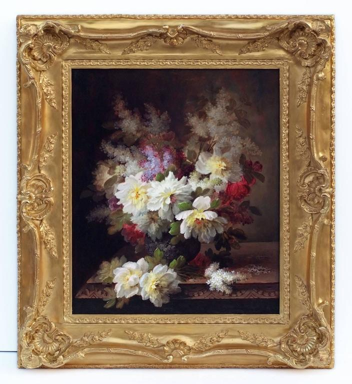 MAUCHERAT de LONGPRÉ Raoul (1843-1922)  Two Bunch of Flowers in Pair Oils on canvas each signed low right  Frames gilded with gold leaves Dim canvas (each) : 65 X 54 cm Dim frame (each) : 92 X 81 cm For sale only by Pair Certificate of