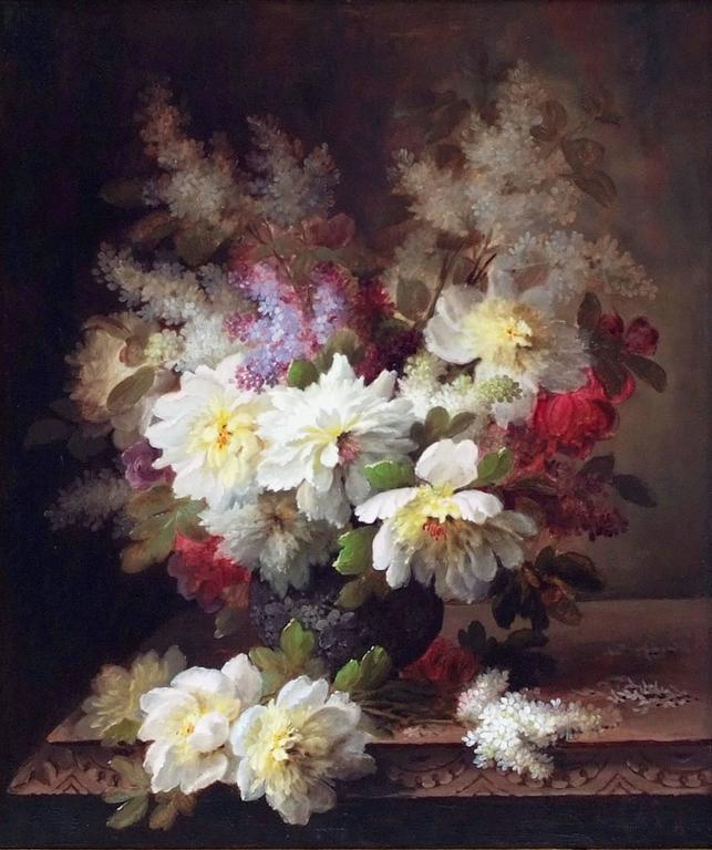 Painting 19th Century Flowers For Sale 4