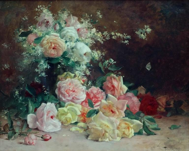 Painting 19th Century Flowers For Sale 2