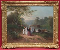 19th Century Painting  Canoeing on the Seine River