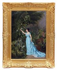 Painting 19th century Garden Flowers Portrait Lady Empire Period