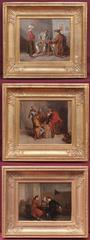 Three Paintings Genre scenes 18th century inn's Interiors with Characters