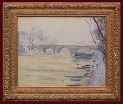 Postimpressionist painting, Bridge over Seine River in Paris