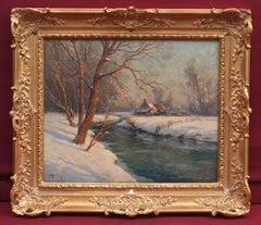 MARONIEZ Georges Philibert (1865 – 1933)  Painting 19th century Winter Landscape