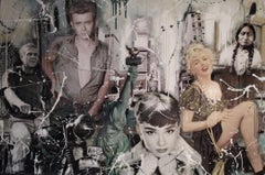 Large painting Hollywood Legends Marilyn Dean Mc Queen Hepburn