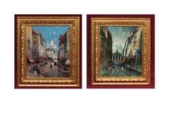 Paintings Post Impressionist - Paris Views in Pair