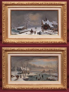 Two paintings 19th century Lively Winter landscapes in pair