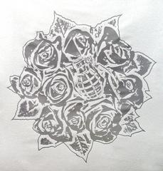 Rose Bouquet White on Silver