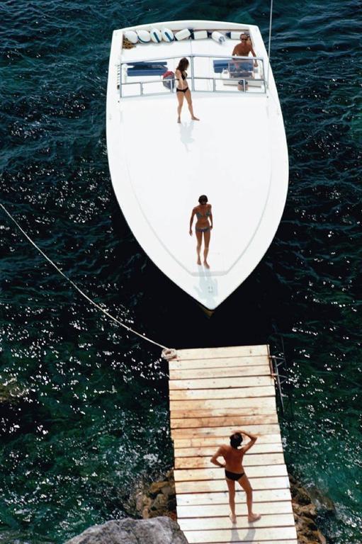 Slim Aarons Speedboat Landing Archival Pigment Print Photograph For Sale At 1stdibs