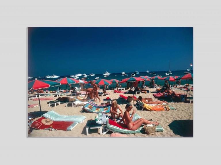 Slim Aarons Color Photograph Beach At St Tropez Chromalux Aluminium