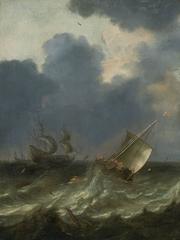 Pieter Mulier the Elder - Coastal ships in a stormy sea