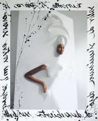 Black Girl Melting in Origami Head Piece