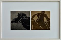 Greek Mosaics- Diptych Figurative Photography Framed