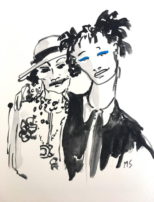 Coco Chanel and Willow Smith , Watercolor on Archival Paper, 2016
