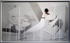 Black Girl in Origami Dress with Rooster (one of a kind photograph on aluminum)