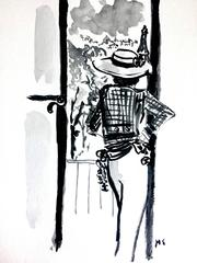 Chanel (One of  kind watercolor painting of fashion icon)