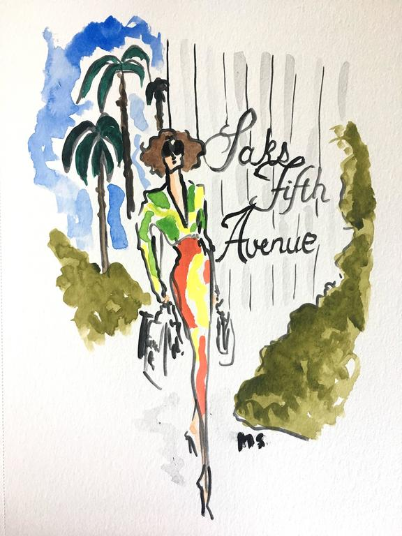 Manuel Santelices Portrait Painting - Saks Fifth Avenue (one of a kind watercolor painting of fashion icons)