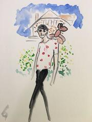 Harry Brant in Connecticut (one of a kind watercolor painting of fashion icon)
