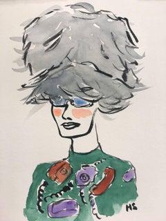 Miu Miu Furry Hat, one of a kind fashion illustration