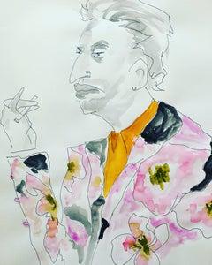 Serge Gainsbourg in Dries van Noten Watercolor Portrait