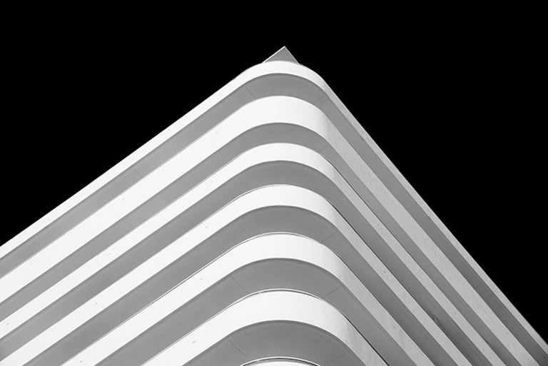 Luca Artioli Black and White Photograph - Miami Stripes, Small Black and White Abstract Architectural Photograph, 2016