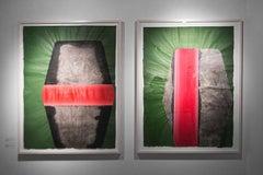 Geranium,  Oil and mix media on paper, Framed