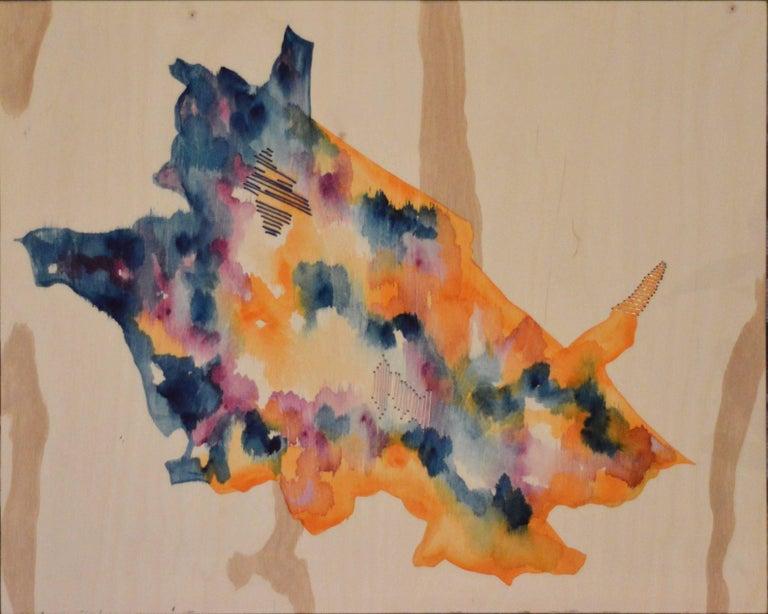 Ramon Aular Mixed Media Art - Untitled III abstract painting on wood