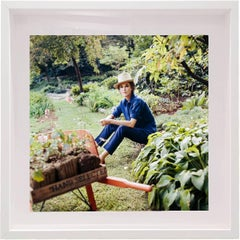 "American socialite  Barbara ""Babe"" Paley sitting at her garden"