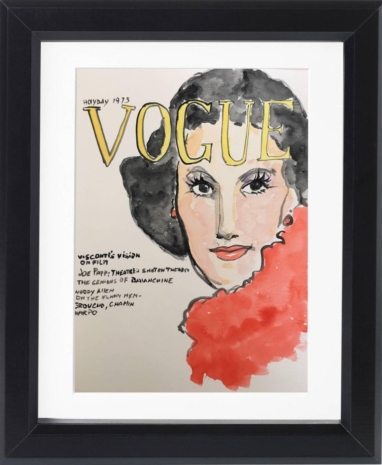 American Vogue Covers  #1 #2 #3 #4 One of a kind Poliptych Watercolor - Art by Manuel Santelices