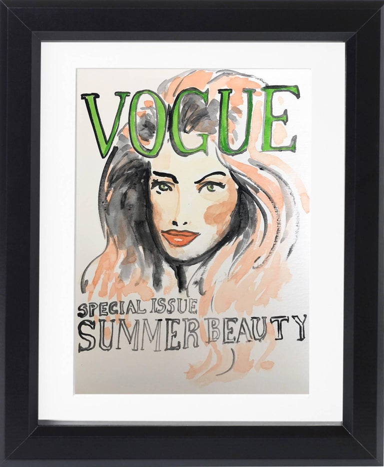 American Vogue Covers  #1 #2 #3 #4 One of a kind Poliptych Watercolor - Contemporary Art by Manuel Santelices