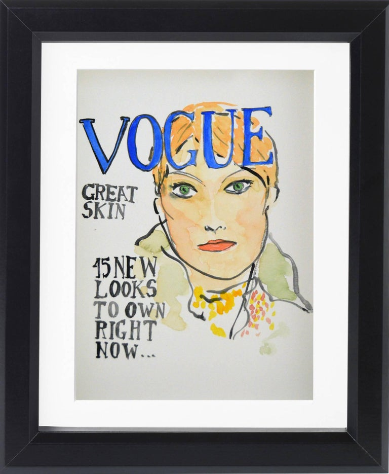 American Vogue Covers  #1 #2 #3 #4 One of a kind Poliptych Watercolor - Beige Portrait by Manuel Santelices