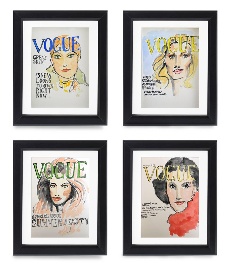 Manuel Santelices Portrait - American Vogue Covers  #1 #2 #3 #4 One of a kind Poliptych Watercolor