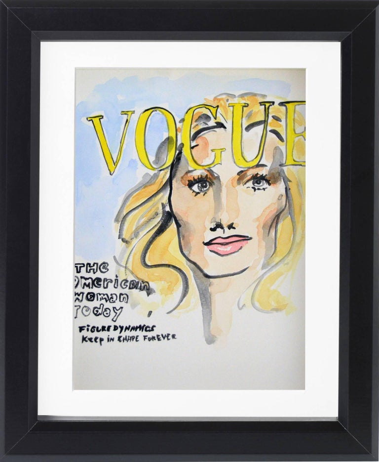 American Vogue Covers  #1 #2 #3 #4 Polyptych Watercolors. One of a kind  illustration by Manuel Santelices, 24 x 18 inches ----------------------------------------------------------  Manuel Santalices, explores the world of fashion, society and pop