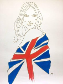 Union Jack Kate Moss, Watercolor and Gold Pen on Archival Paper, 2017