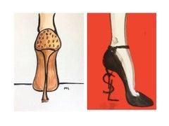 YSL Yves Saint Laurent & Giozeppe Zanotti High Heel Diptych  Watercolors