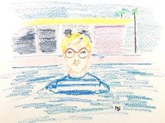 David Hockney in the pool, oil pastel on archival paper