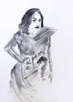 Architect Zaha Hadid in Issey Miyake