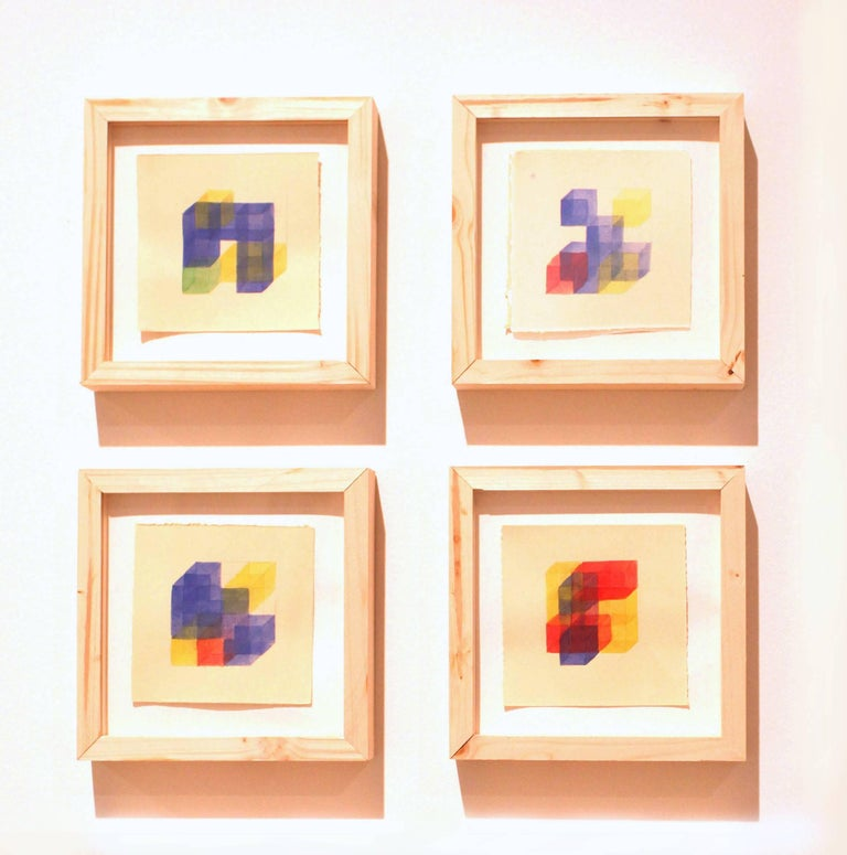 Building Blocks II, IV, VIII & X- Polyptych Watercolor paintings on paper Framed
