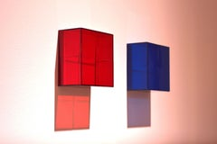 C-Red & A-Blue Diptych of Plexiglass wall sculptures