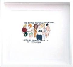 John Currin Walks Into a Bar - One of a kind watercolor, Framed