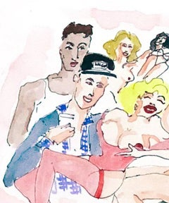 Happy hour at David LaChapelle - One of a kind watercolor, Framed