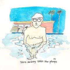 David Hockney Takes the Plunge - One of a kind watercolor
