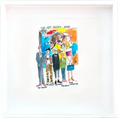 The Art Crowd at ABMB - One of a kind watercolor, Framed