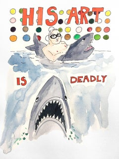 His Art is Deadly - Damien Hirst One of a kind Watercolor