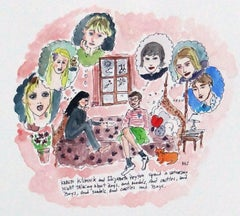 Saturday Night with Karen Kilimnik and Elizabeth Peyton, watercolor
